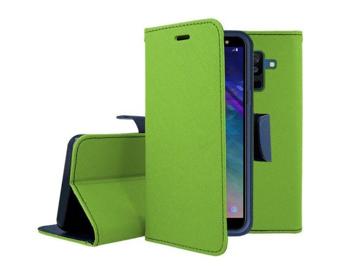Tel1 Fancy Diary Θήκη Πορτοφόλι με δυνατότητα Stand Lime / Navy (Samsung Galaxy J8 2018)