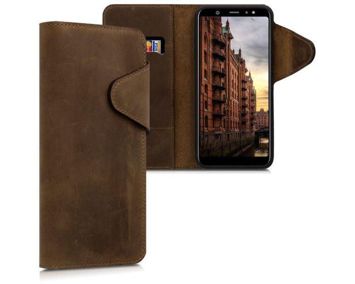 Kalibri Leather Wallet Case Δερμάτινη Θήκη Πορτοφόλι (45265.05) Καφέ (Samsung Galaxy A6 Plus 2018)