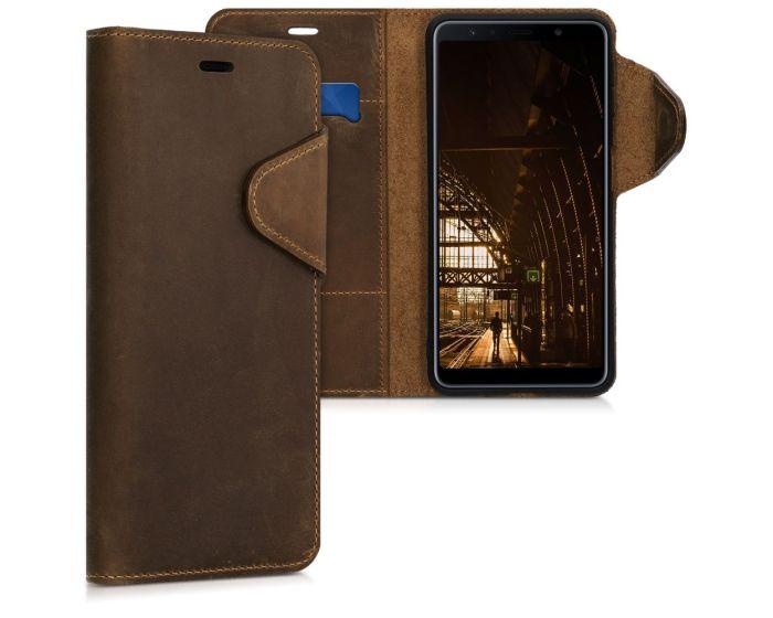 Kalibri Leather Wallet Case Δερμάτινη Θήκη Πορτοφόλι (46602.05) Καφέ (Samsung Galaxy A7 2018)