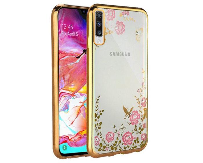 Forcell Strass TPU Case Diamond Garden - Θήκη σιλικόνης με Στρας Gold (Samsung Galaxy A70)