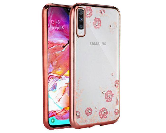 Forcell Strass TPU Case Diamond Garden - Θήκη σιλικόνης με Στρας Rose Gold (Samsung Galaxy A70)