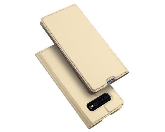 DUX DUCIS SkinPro Wallet Case Θήκη Πορτοφόλι με Stand - Gold (Samsung Galaxy S10)