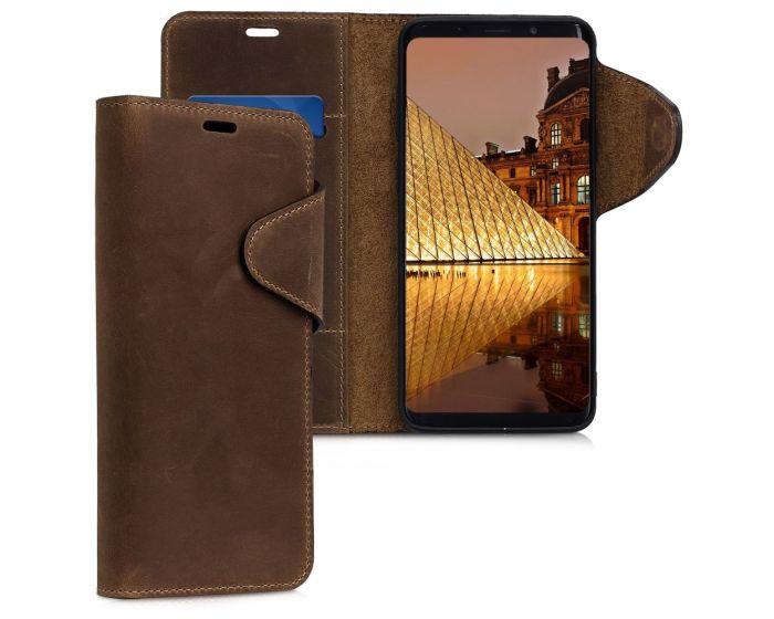 Kalibri Leather Wallet Case Δερμάτινη Θήκη Πορτοφόλι (44486.05) Καφέ (Samsung Galaxy S9 Plus)