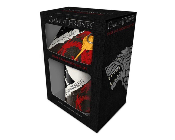 Game of Thrones (Stark and Targaryen) Mug, Coaster and Keychain Set