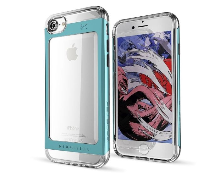 GHOSTEK CLOAK 2 Protective Case & Tempered Glass (GHO040TAL) Clear / Teal (iPhone 7 / 8 / SE 2020)