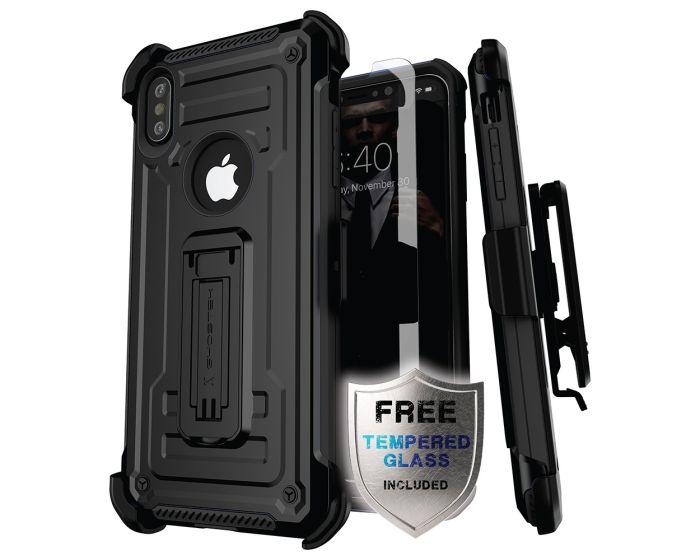 Ghostek Ανθεκτική Θήκη με Stand Iron Armor 2 με Κούμπωμα για την Ζώνη - Black (iPhone X / XS)