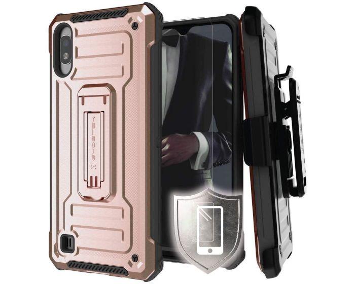 Ghostek Ανθεκτική Θήκη με Stand Iron Armor 2 με Κούμπωμα για την Ζώνη - Rose Gold (Samsung Galaxy A10)