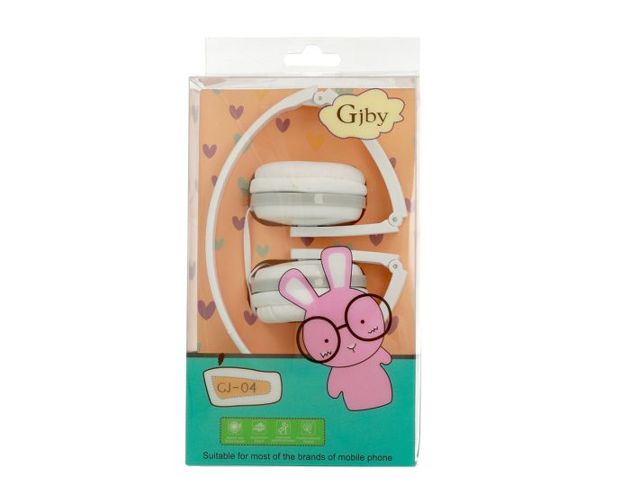 GJBY Audio Headphones (GJ-04) Παιδικά Ακουστικά 3.5mm με Καλώδιο 1.2m - White