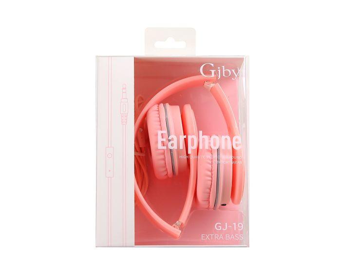 GJBY Audio Headphones (GJ-19) Ακουστικά 3.5mm με Καλώδιο 1.5m - Pink