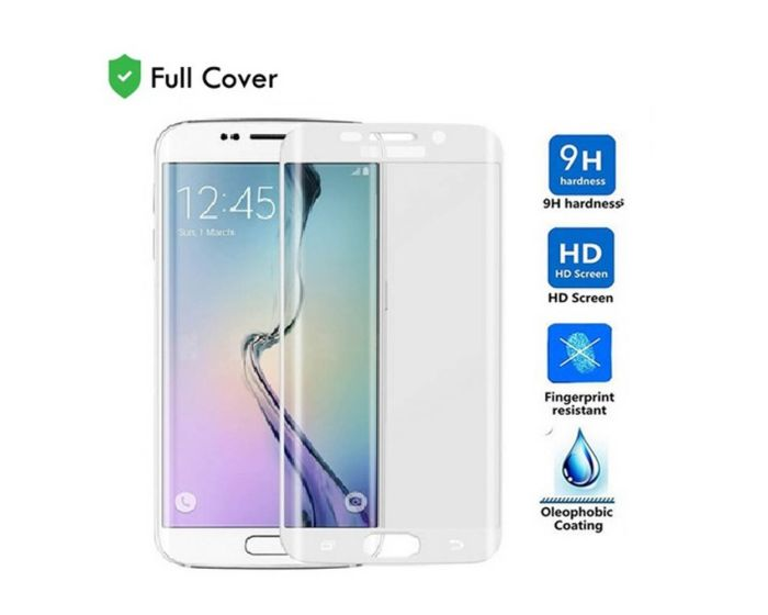Full Cover Curved White Αντιχαρακτικό Γυαλί 9H Tempered Glass (Samsung Galaxy S6 Edge Plus)