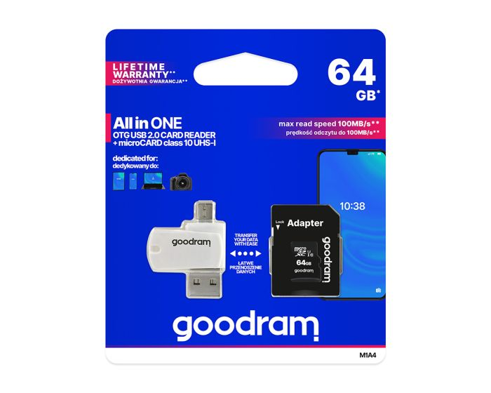 Goodram M1A4 All in One MicroSDHC 64gb Class 10 UHS-1 + OTG Card Reader + Adapter