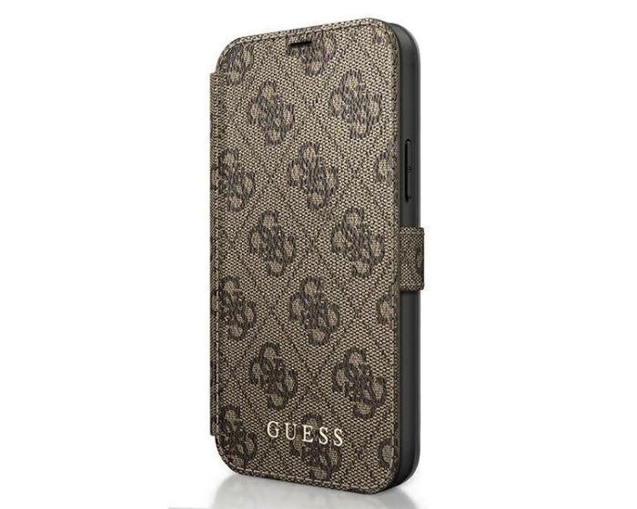 Guess 4G Charms Collection Wallet Case Θήκη Πορτοφόλι - Brown (iPhone 12 / 12 Pro)