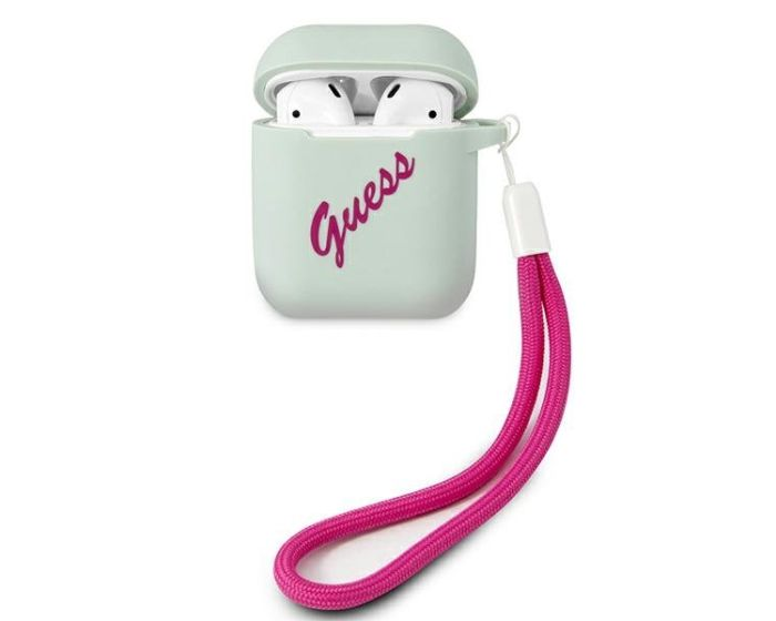 Guess Silicone Vintage Protective Case για τα Apple AirPods - Blue / Fuchsia