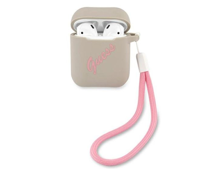 Guess Silicone Vintage Protective Case για τα Apple AirPods - Grey / Pink