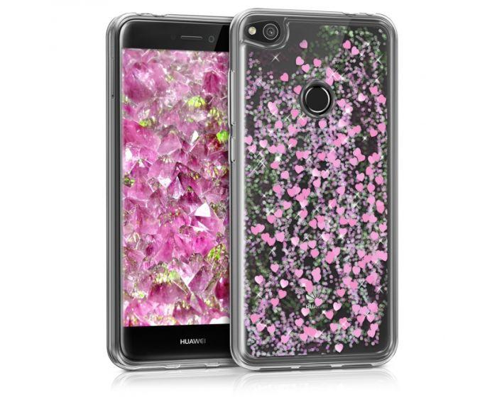 KWmobile Liquid Glitter Snowglobe & Hearts Case (41409.01) Θήκη με Χρυσόσκονη Dark Pink (Huawei P8 Lite 2017 / P9 lite 2017 / Honor 8 Lite)