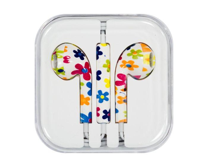 Headphones with Microphone (Model 11) Ακουστικά 3.5mm για iPhone / iPad / iPod - Flowers