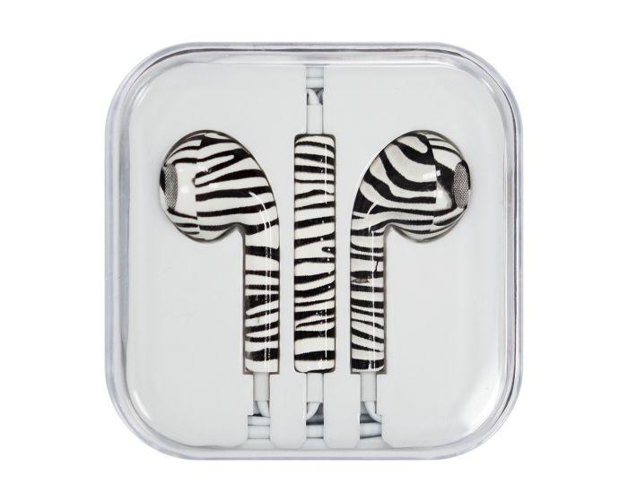 Headphones with Microphone (Style 1) Ακουστικά 3.5mm για iPhone / iPad / iPod - Zebra