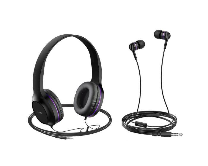 HOCO W24 Enlighten Headphones Set Ακουστικά με Μικρόφωνο - Purple
