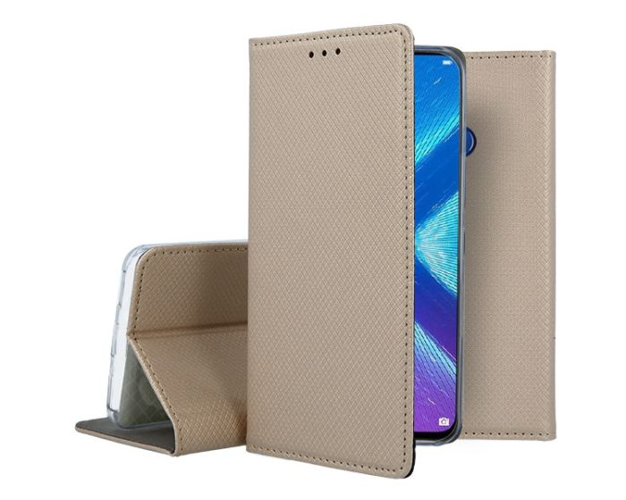 Forcell Smart Book Case με Δυνατότητα Stand Θήκη Πορτοφόλι Gold (Huawei Honor 8X)