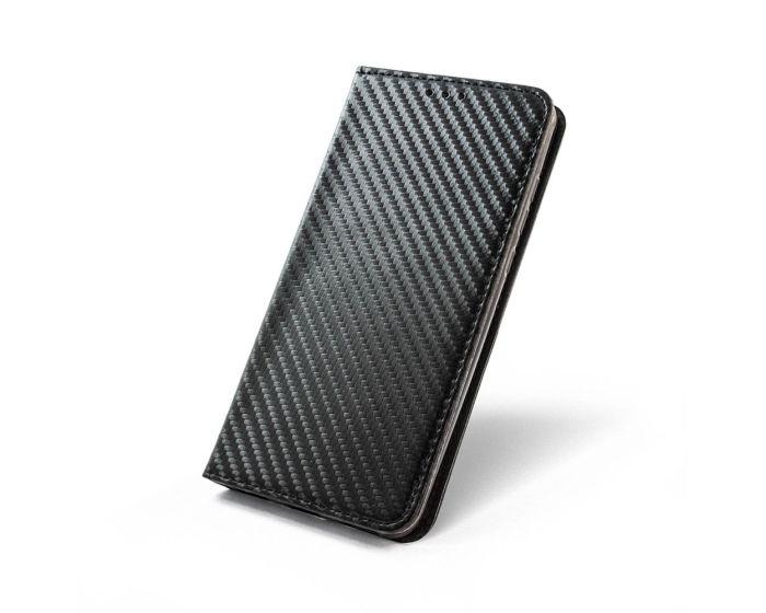 Smart Carbon Book Case με Δυνατότητα Stand - Θήκη Πορτοφόλι Μαύρη (Huawei Mate 10 Lite)