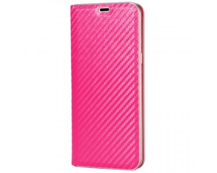 Smart Carbon Book Case με Δυνατότητα Stand - Θήκη Πορτοφόλι Hot Pink (Huawei Mate 10 Lite)