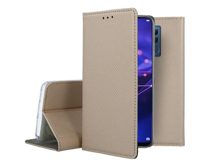 Forcell Smart Book Case με Δυνατότητα Stand Θήκη Πορτοφόλι Gold (Huawei Mate 20 Lite)