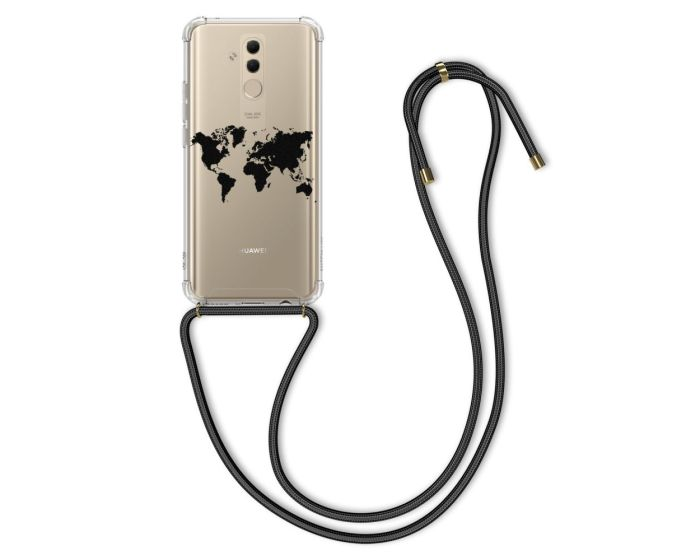 KWmobile Crossbody Silicone Case with Neck Cord Lanyard Strap (48483.02) Travel Outline (Huawei Mate 20 Lite)
