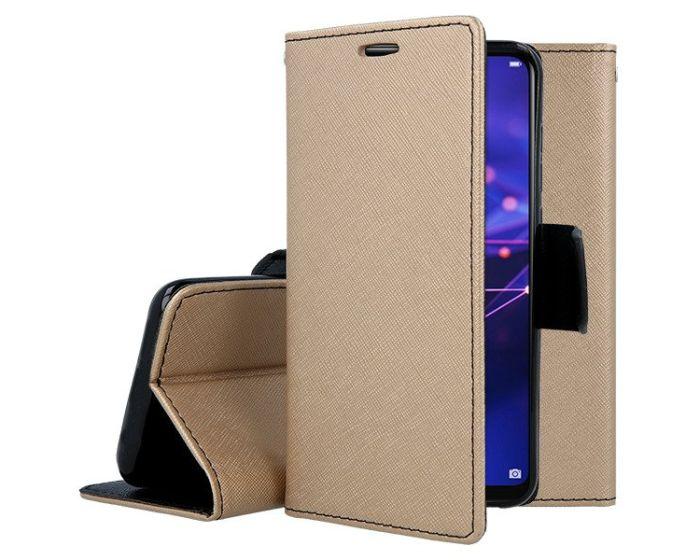 Tel1 Fancy Diary Case Θήκη Πορτοφόλι με δυνατότητα Stand Gold / Black (Huawei Mate 20 Lite)