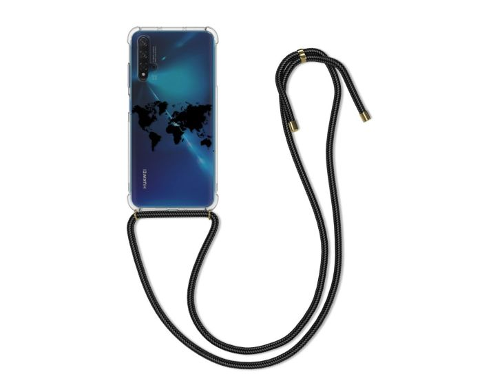 KWmobile Crossbody Silicone Case with Neck Cord Lanyard Strap (51780.02) Travel Outline (Huawei Nova 5T / Honor 20)