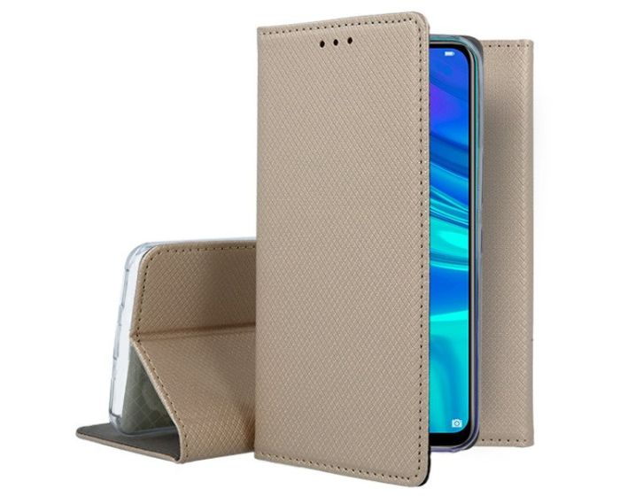 Forcell Smart Book Case με Δυνατότητα Stand Θήκη Πορτοφόλι Gold (Huawei P Smart 2019 / Honor 10 Lite)