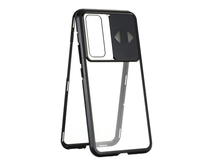 Wozinsky Magneto Cam Slider Full Glass Case - Μαγνητική Θήκη Clear / Black (Huawei P40)