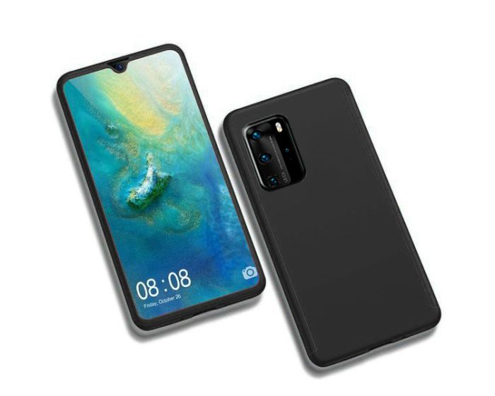 360 Full Cover Case & Tempered Glass - Black (Huawei P40)