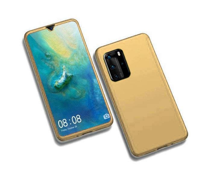 360 Full Cover Case & Tempered Glass - Gold (Huawei P40)