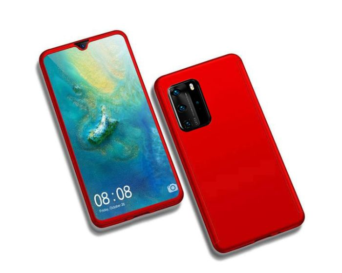 360 Full Cover Case & Tempered Glass - Red (Huawei P40)