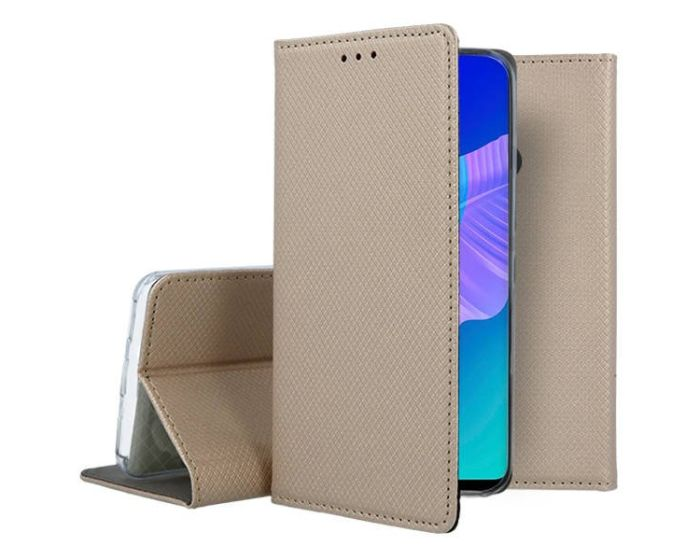 Forcell Smart Book Case με Δυνατότητα Stand Θήκη Πορτοφόλι Gold (Huawei P40 Lite E)