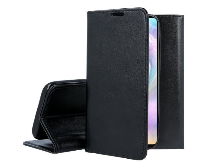 Forcell Magnet Wallet Case Θήκη Πορτοφόλι με δυνατότητα Stand Black (Huawei P40 Lite E)