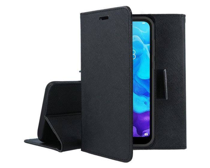 Tel1 Fancy Diary Case Θήκη Πορτοφόλι με δυνατότητα Stand Black (Huawei P40 Lite E)