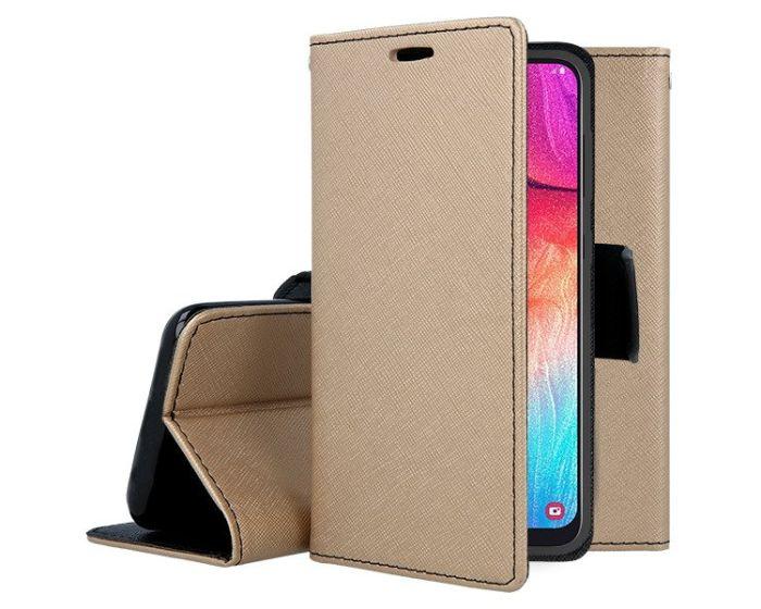 Tel1 Fancy Diary Case Θήκη Πορτοφόλι με δυνατότητα Stand Gold / Black (Huawei P40 Lite E)