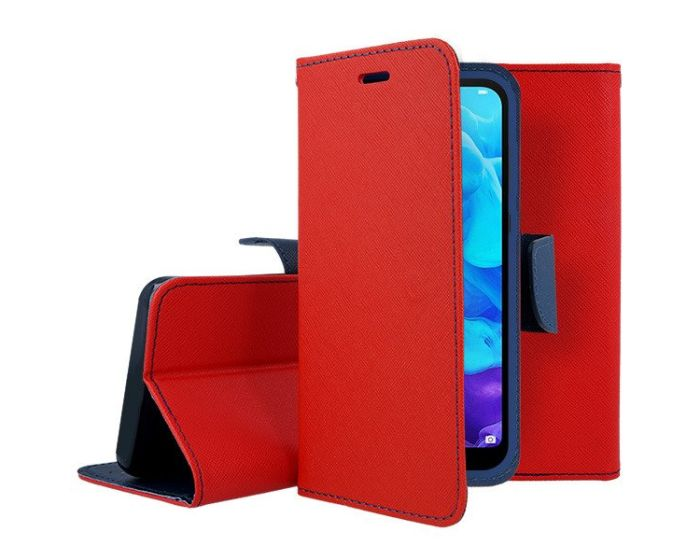 Tel1 Fancy Diary Case Θήκη Πορτοφόλι με δυνατότητα Stand Red / Navy (Huawei P40 Lite E)