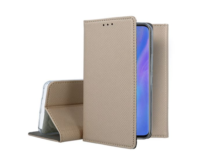 Forcell Smart Book Case με Δυνατότητα Stand Θήκη Πορτοφόλι Gold (Huawei P40 Lite)