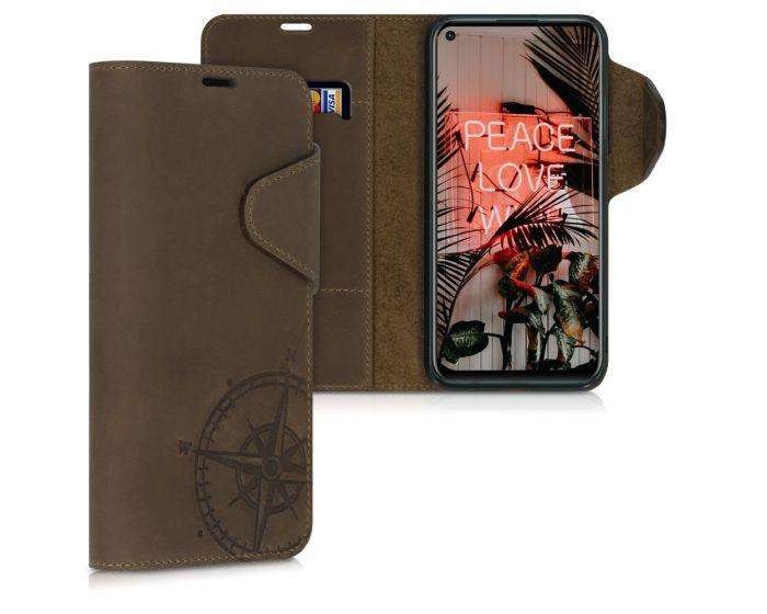 Kalibri Leather Wallet Case Δερμάτινη Θήκη Πορτοφόλι (51971.01) Navigational Compass Καφέ (Huawei P40 Lite)