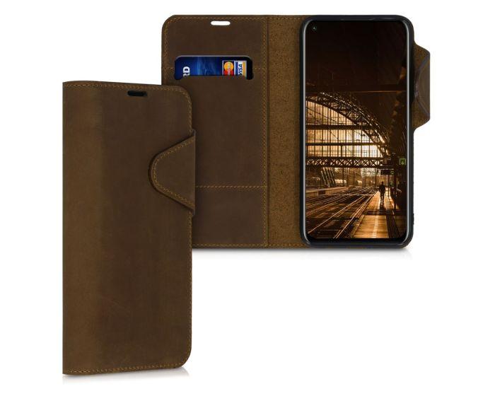 Kalibri Leather Wallet Case Δερμάτινη Θήκη Πορτοφόλι (51987.05) Καφέ (Huawei P40 Lite)