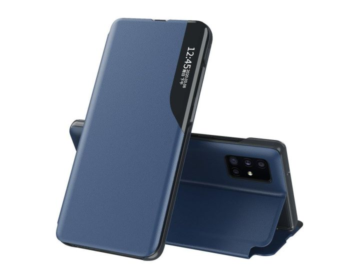 Eco Leather View Case Θήκη Πορτοφόλι με Stand - Blue (Huawei P40 Pro)