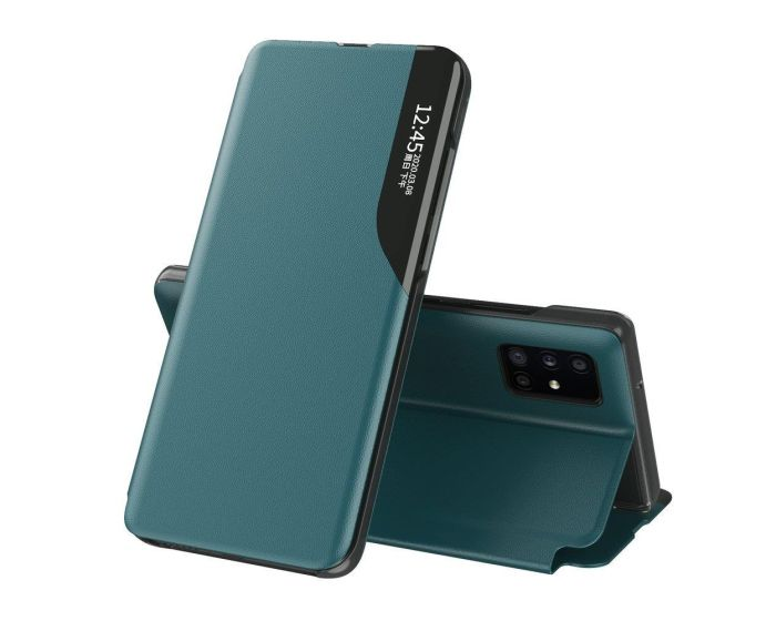 Eco Leather View Case Θήκη Πορτοφόλι με Stand - Green (Huawei P40 Pro)