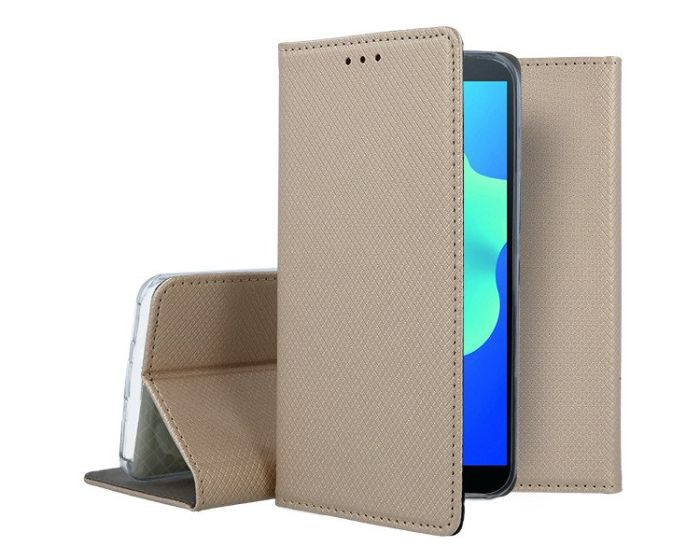 Forcell Smart Book Case με Δυνατότητα Stand Θήκη Πορτοφόλι Gold (Huawei Y5 2018)