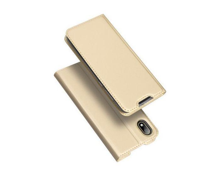DUX DUCIS SkinPro Wallet Case Θήκη Πορτοφόλι με Stand - Gold (Huawei Y5 2019)