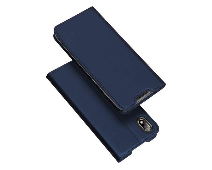 DUX DUCIS SkinPro Wallet Case Θήκη Πορτοφόλι με Stand - Navy Blue (Huawei Y5 2019)