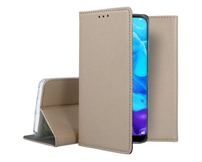 Forcell Smart Book Case με Δυνατότητα Stand Θήκη Πορτοφόλι Gold (Huawei Y5 2019)