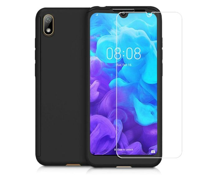 360 Full Cover Case & Tempered Glass - Black (Huawei Y5 2019)