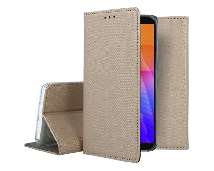 Forcell Smart Book Case με Δυνατότητα Stand Θήκη Πορτοφόλι Gold (Huawei Y5P / Honor 9s)